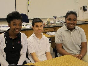 (left to right) Eighth graders Arriana Hall, Rafael Pachero and Havelyn Murray