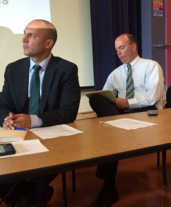 Youngstown Mayor John McNally, right, along with Democratic state senator Joe Schiavoni at a recent informational meeting about the new legislation.