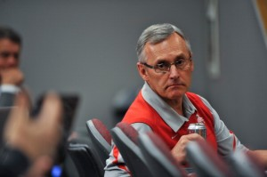 Former Ohio State football coach listens during a March 2011 press conference in Columbus.