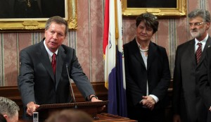 Gov. John Kasich appeared with state Sen. Peggy Lehner at the signing of Cleveland Plan legislation in 2012.