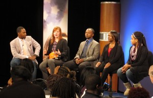 (L to R) Moderator Basheer Jones, college students Keihen Kitchen, Kendal King, Demitria McKenzie, Taylor Moore