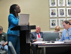 CSU VP for Business Affairs and Finance Stephanie McHenry addresses the Board of Trustees